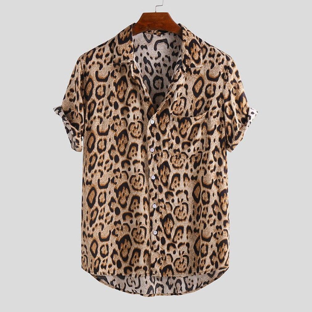 Мужская Повседневная Блузка с леопардовым принтом, рубашки с коротким рукавом, новая мужская Праздничная пляжная рубашка, мужские свободны...