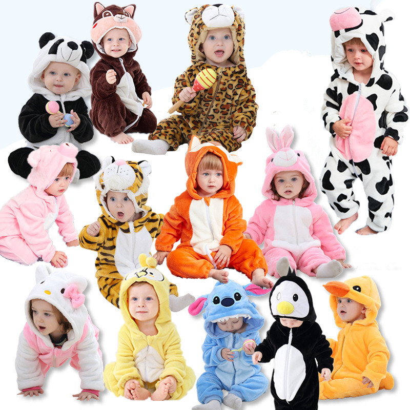 2020 Baby Romper Baby Boys Girs Jumpsuit Infant Bebe Kitty Girls Clothes Hooded Toddler Cute Stich Animal Costumes Dropshipping