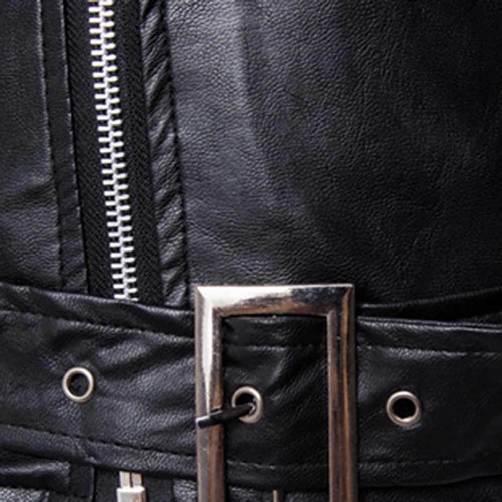 แฟชั่นผู้ชาย PU แจ็คเก็ตหนัง Casual STAND COLLAR เสื้อแขนยาว Zipper ชายเสื้อ Windbreakers SLIM FIT O-Neck รถจักรยานยนต์ Jaket