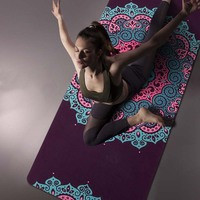 High quality Printed Yoga Mat Natural Rubber 5mm Suede Fitness Pad Anti skid Pilates Dance Travel Mattres with Free Yoga Mat Bag