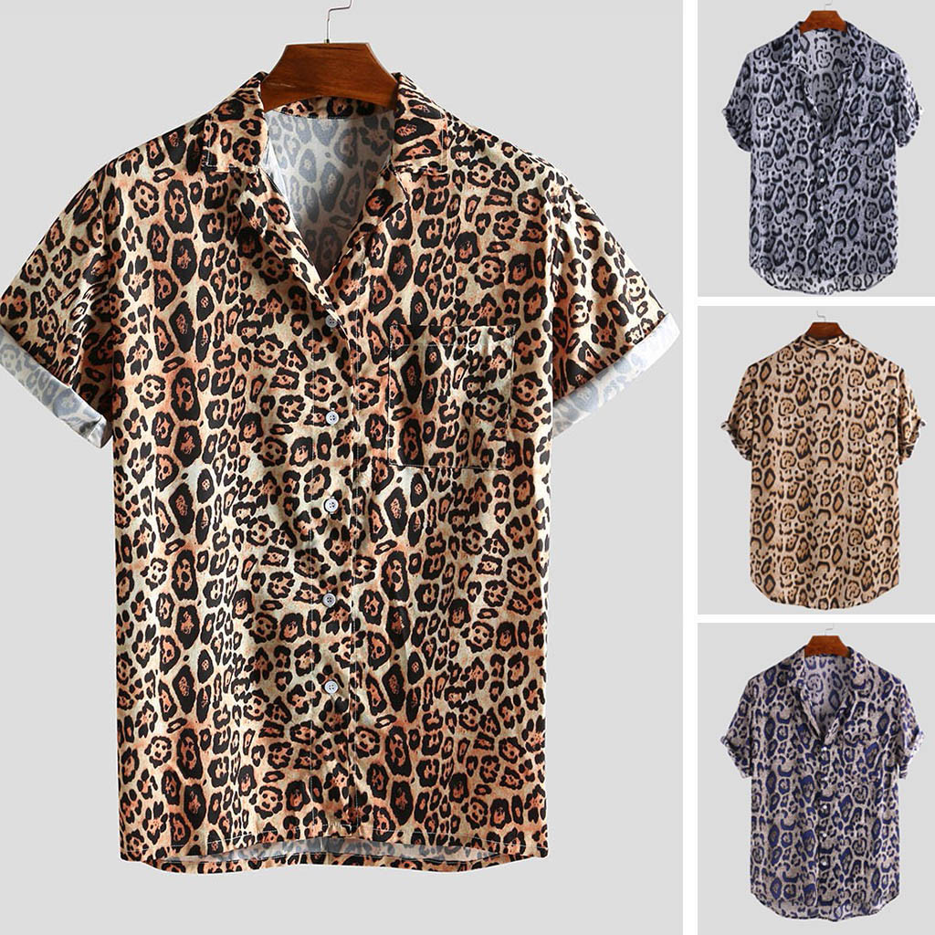 Summer Mens Shirt Top Casual Short Sleeve Hawaiian Shirts Turn Down Collar Leopard Print Shirt Men Dress Male Clothing Tops