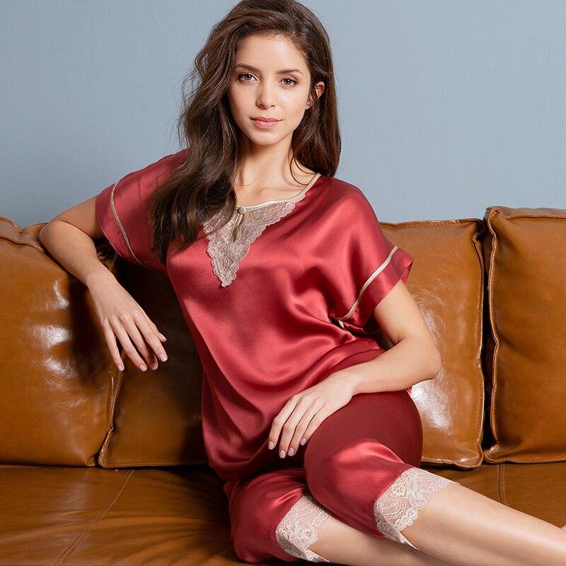 100% натуральная Шелковая пижама короткая женская 2020 однотонная Пижама Mujer для сна и отдыха Ночная сорочка женская пижама 16 момме комплект ше