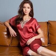 100% Real Silk Pajamas Short Women 2020 Solid Pijama Mujer Sleep Lounge