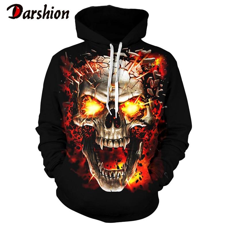 New Men Women Hooded 3D Blue Red Flame Skull Hoodies Sweatshirts Loose Tracksuits Autumn Winter Coat Streetwear Jackets Hoodie