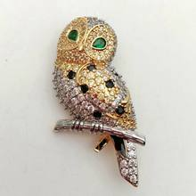 Owl Cubic Zirconia Gold Plated Brooch Pin - Bird CZ Brooch Animal Jewelry(China)