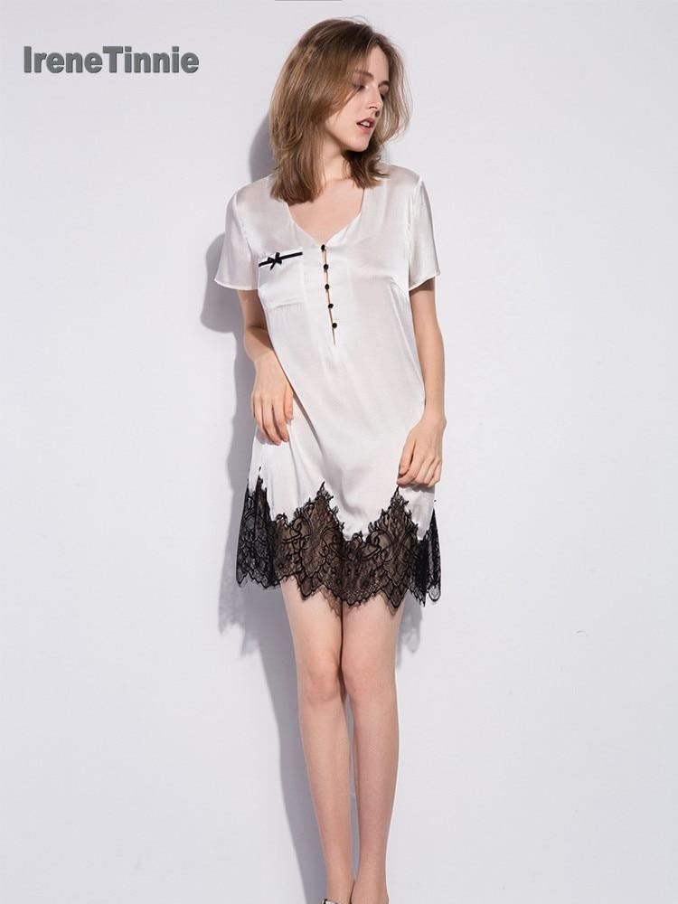 Sexy 100% Genuine Silk NightDress Women Sleepwear V-neck Pure Silk Short Sleeves Elegant Nightgowns Women Night dress