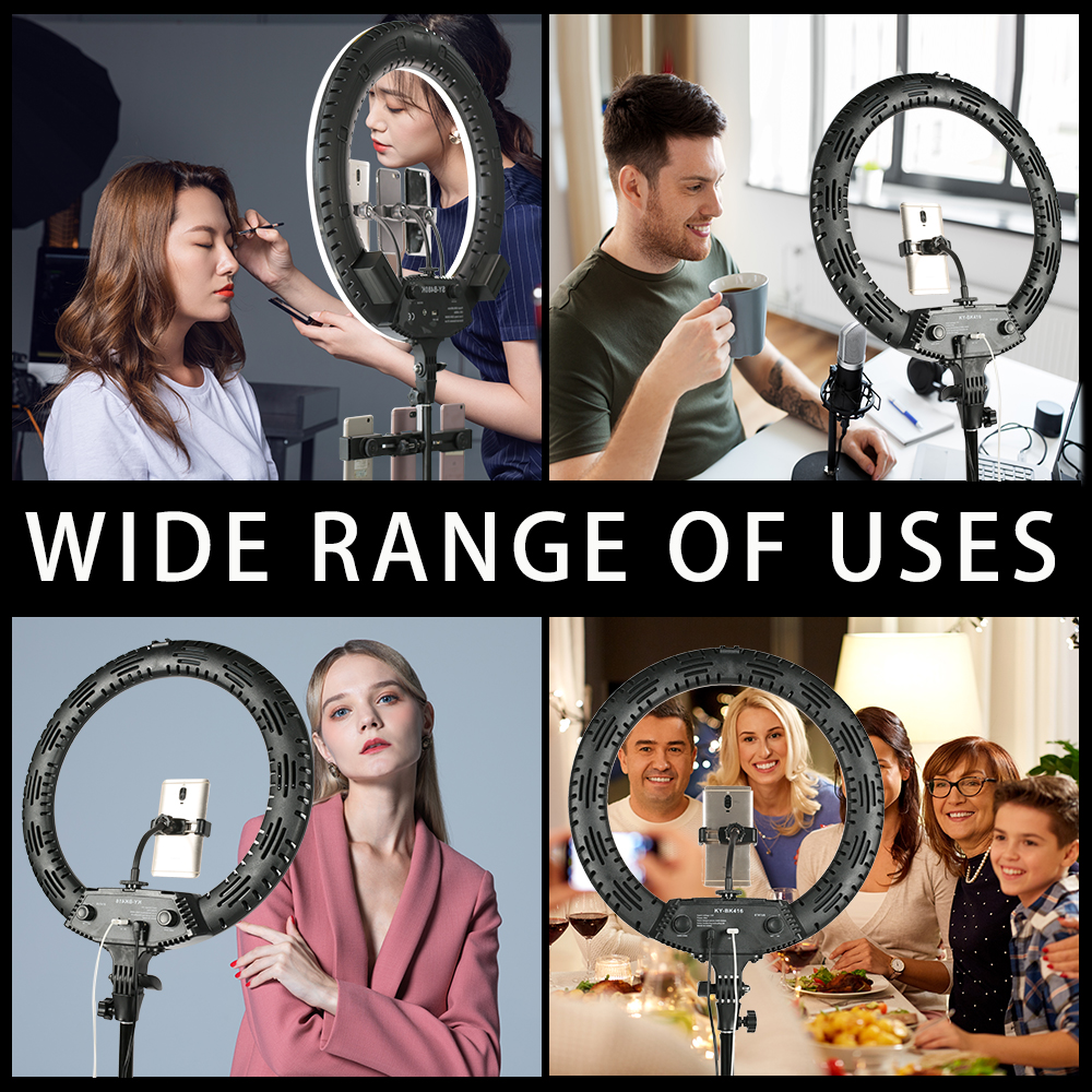 Haa9cbf688cd142d39ce327d744d94c0dZ WalkingWay 18 inch LED Ring Light with Tripod Dimmable Photographic Lighting Studio Video light for tik tok Makeup Youtube Live