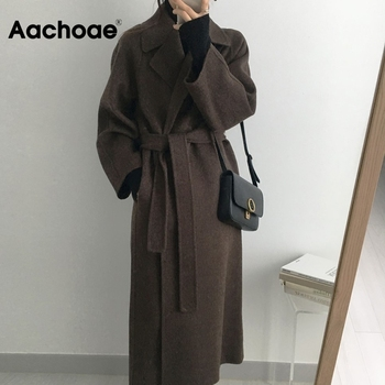 Aachoae Women Elegant Long Wool Coat With Belt Solid Color Long Sleeve Chic Outerwear Ladies
