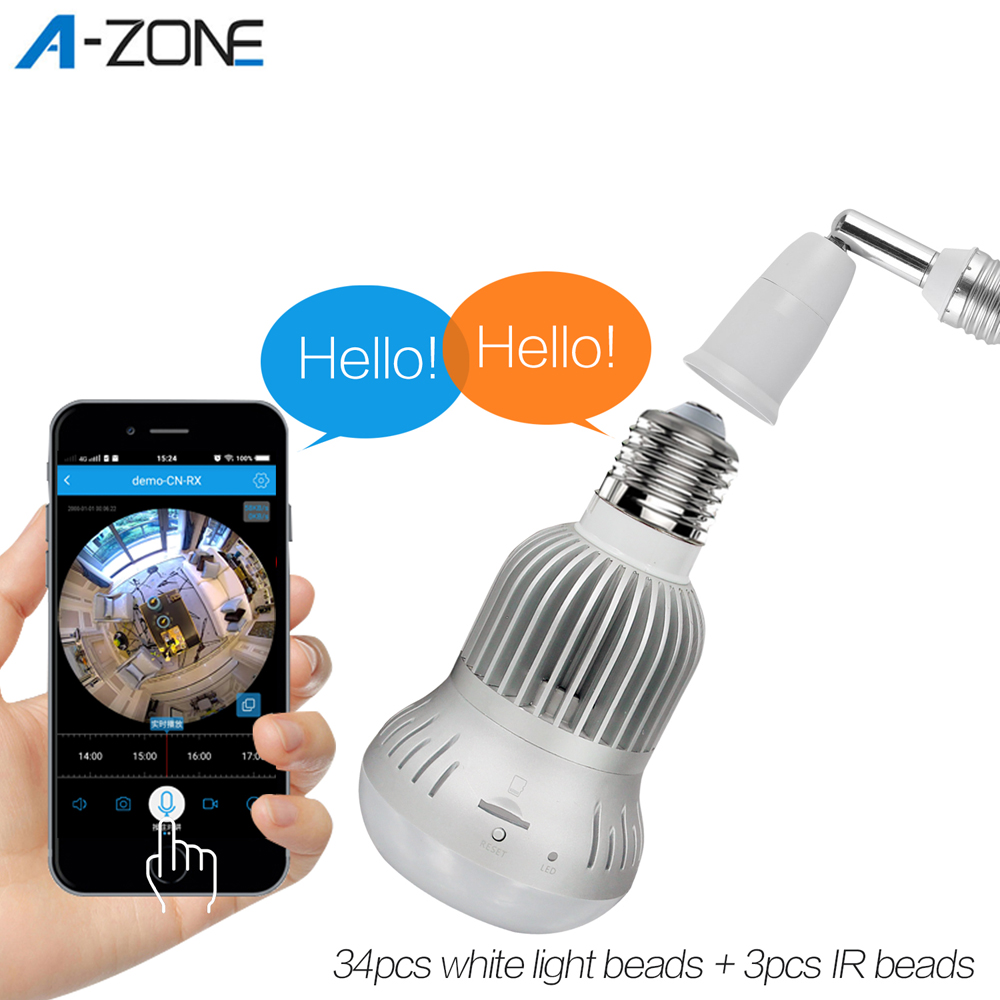 A-ZONE IP Camera Wifi Wireless 360 ONVIF Home Security LED Bulb Camera Motion Detection Night Vision Video Surveillance Lamp Cam