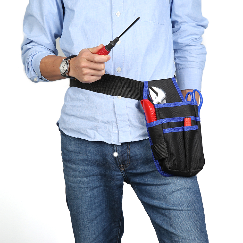 Multi-functional Hardware Mechanics Canvas Tool Bag Utility Pocket Pouch With Adjustable Belt Storage Holder Organizer