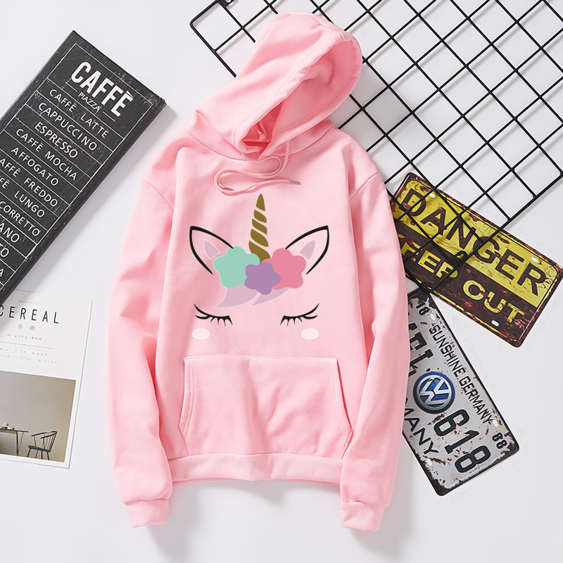 Unicorn Cute Pattern Men And Women Celebrity Style With Hooded Round Neck Sweater Fleece Sports Loose Casual Hot Selling
