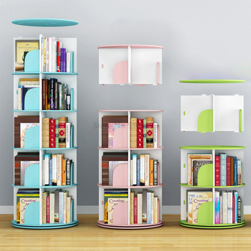 Rotary Bookshelf Creative Book Cabinet Floor Household Children's Corner Table Simple Student Storage Rack Bookshelf