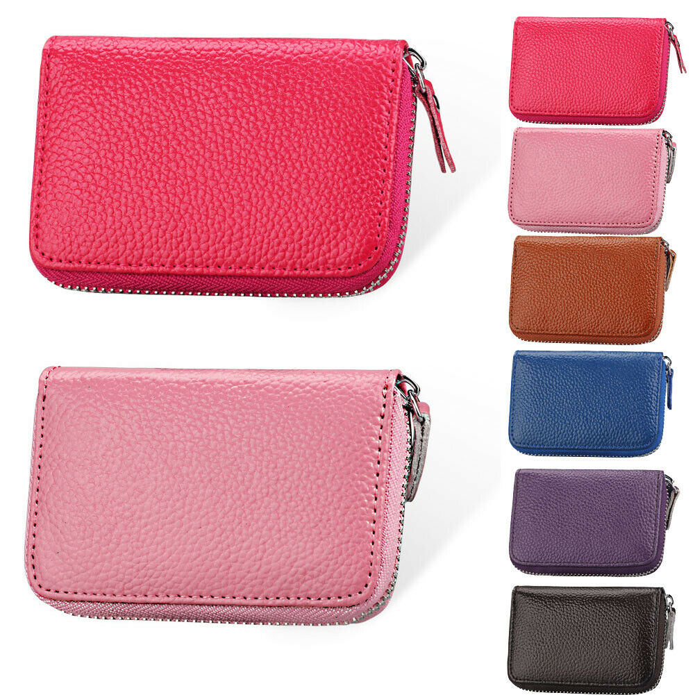 Genuine Leather RFID Blocking Wallet Credit Card Holder Bifold Short Clutch Coin Purse Ladies Small ID Card Case Pack