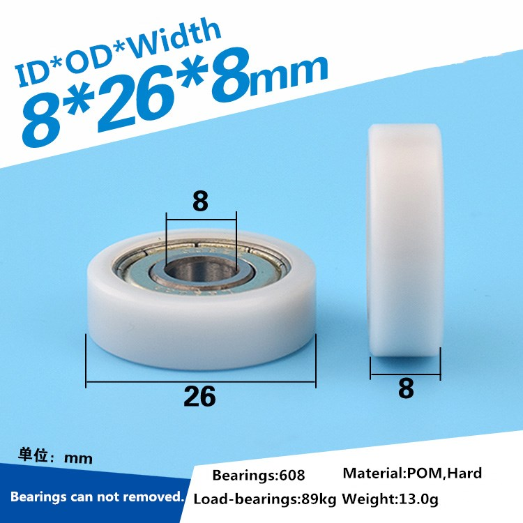 1pcs delrin POM plastic coated flat edge wheel roller 8x26x8mm 608ZZ bearing for window drawer guide