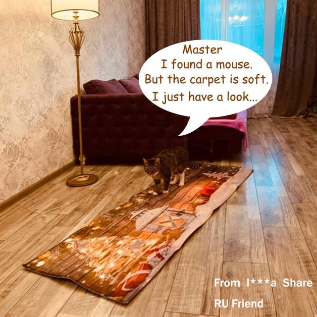 3D Christmas Santa Claus Anti-slip Kitchen Dinning Room Fireplace Floor Mat Flannel Carpet Rug Durable Xmas Home Decor Floor Rug 2