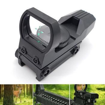 Mira telescópica de rifle de 20mm, óptica de caza, reflejo de punto rojo holográfico, mira Táctica de 4 retículas, accesorios para pistola de caza