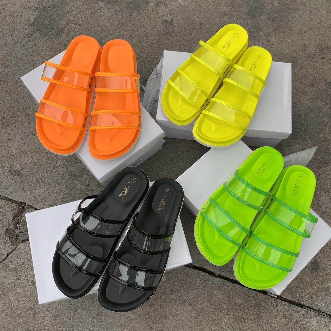 Trendy Summer Women Shoes Candy Color Paltform Flat Bottom Cool Thick Bottom Transparent Waterproof Ladies Sandals Plus Size 41