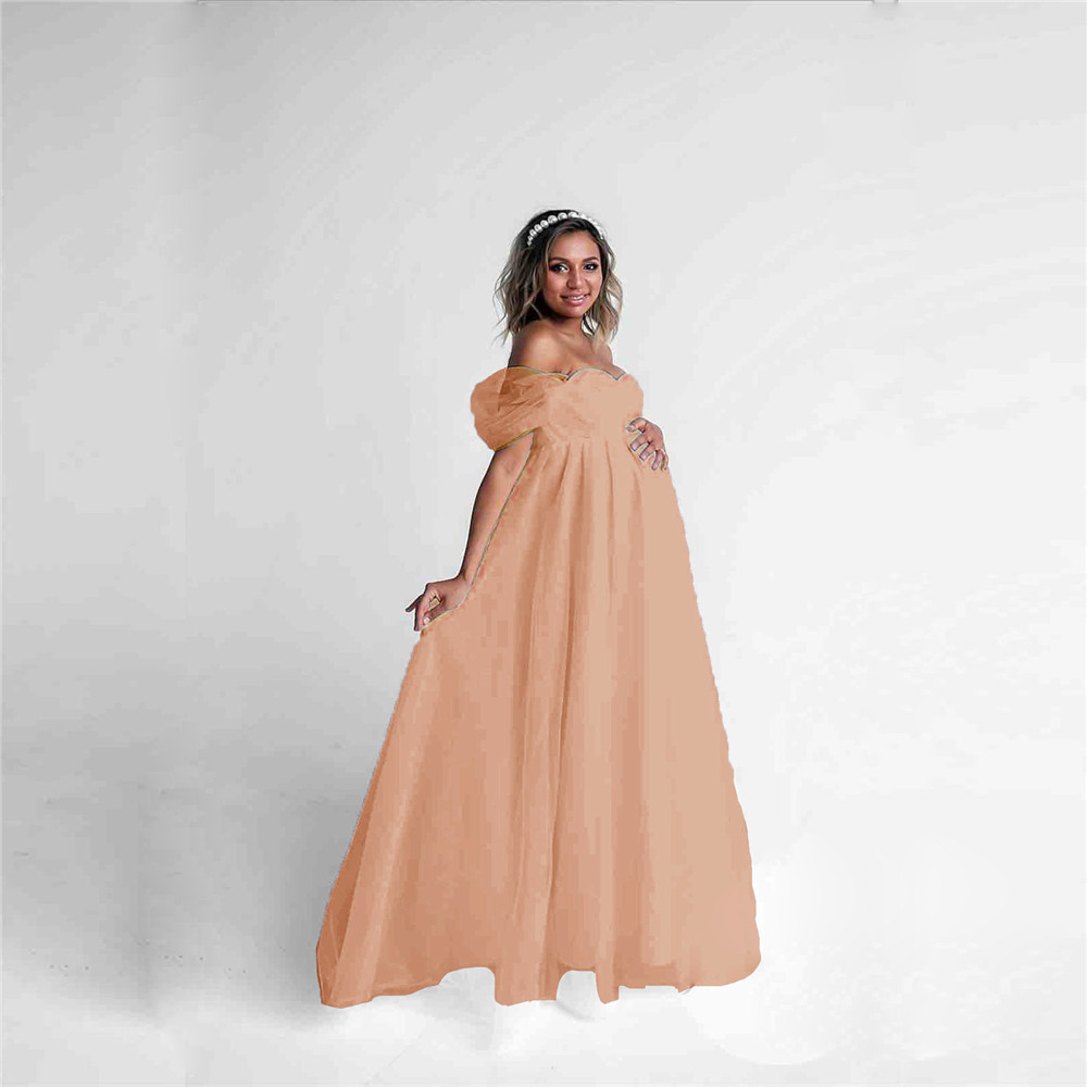 Shoulderless Sexy Maternity Dress Photo Shoot Long Pregnancy Dresses Photography Props Lace Chiffon Maxi Gown For Pregnant Women (8)