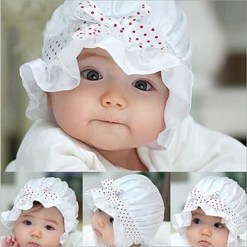 2021 nowe letnie noworodka dziewczynka chłopiec słońce kropki czapka typu Beanie Cap 2-12 miesięcy Bowknot dziecko czapka z kapturem dzieci kapelusz rekwizyty fotograficzne tanie i dobre opinie CN (pochodzenie) MATERNITY W wieku 0-6m 7-12m 13-24m 25-36m COTTON Adjustable Unisex Stałe baby 0-3 miesięcy Dzieci w wieku 4-6 miesięcy