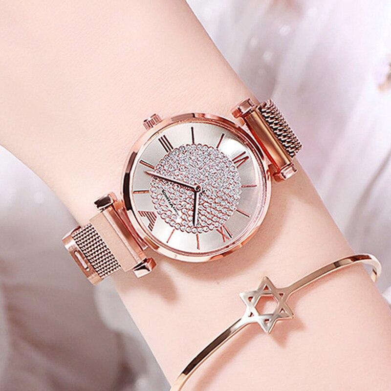 Роскошные женские часы с бриллиантами 2019, розовое золото, магнитные женские наручные часы для женщин, часы браслет, женские часы, Relogio Feminino Женские часы-браслеты      АлиЭкспресс