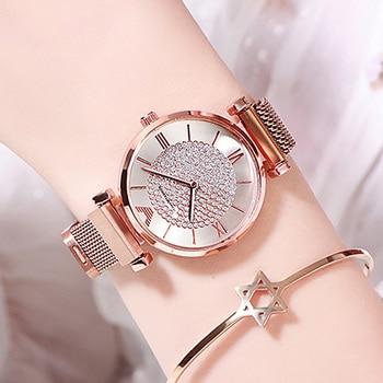 Luxury Diamond Women Watches 2019 Rose Gold Magnetic Ladies Wrist For Bracelet Watch Female Clock Relogio Feminino