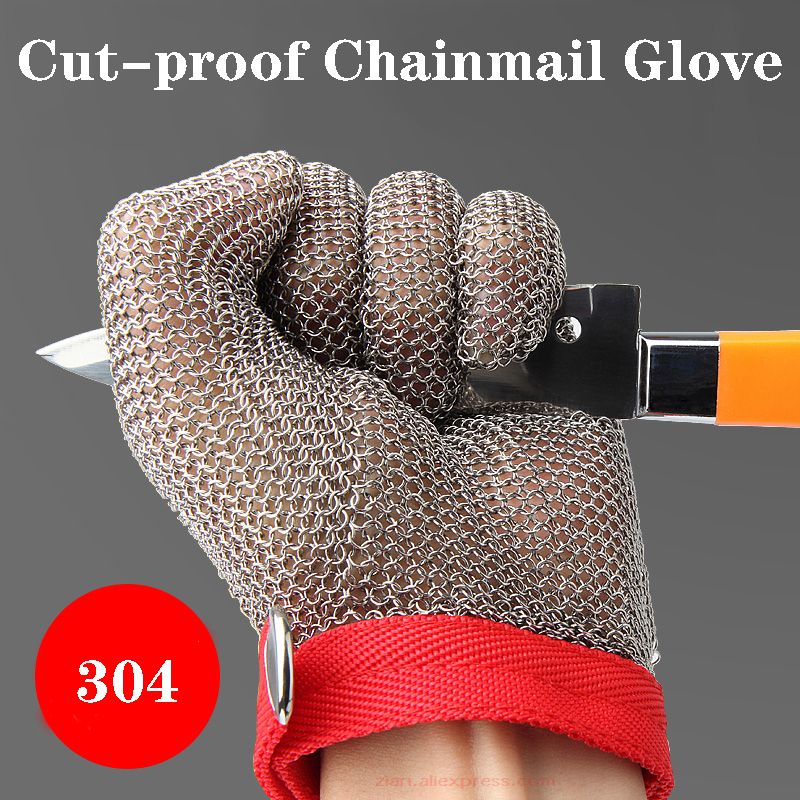 Cut-proof Glove Chainmail 304 100% Stainless Steel Iron Chain Steel Ring Wire Protection Hand-cut Welding Protective Glove