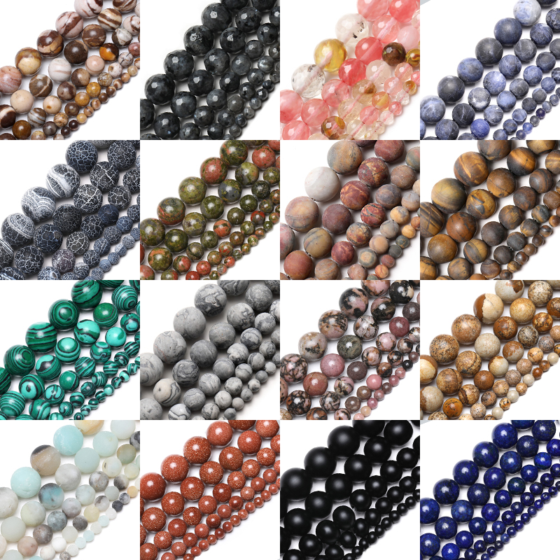 Natural Stone Matte Tiger Eye Morganite Agates Stone Round Beads For Jewelry Making Diy Bracelet 15'' 4mm 6mm 8mm 10mm 12mm(China)