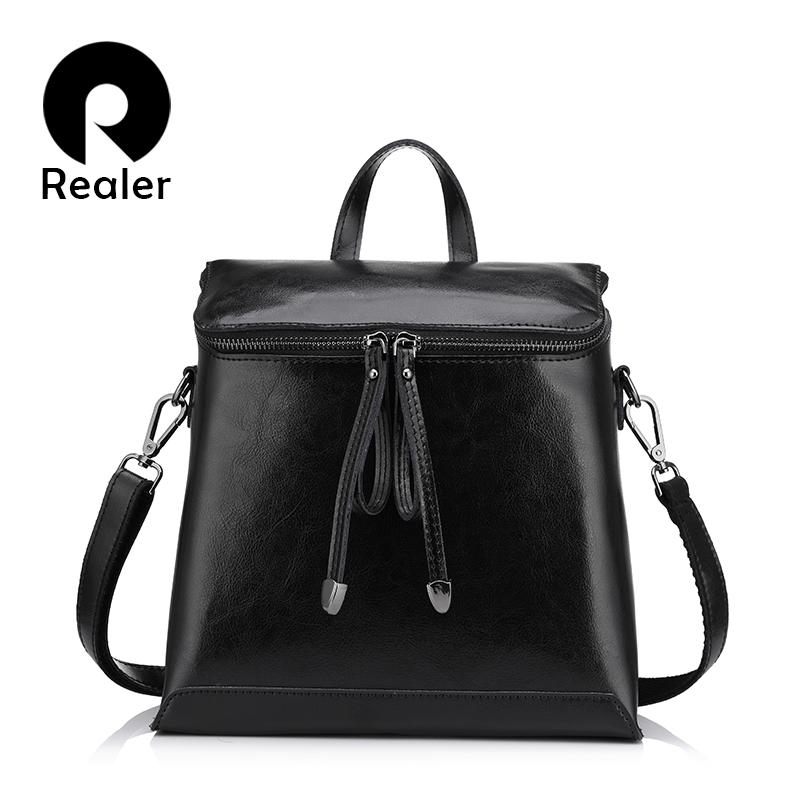 REALER Vintage Women Backpack, Oil Wax Leather Backpack For Women, Ladies School Bags For Teenagers Girls Female Shoulder Bag