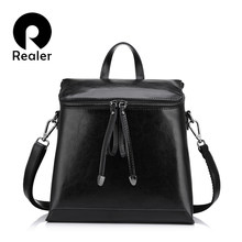 REALER vintage women backpack, oil wax leather backpack for women, ladies school bags for teenagers girls female shoulder bag(China)