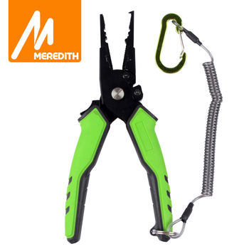 MEREDITH Multifunctional Aluminum Alloy Fishing Pliers Split Ring Cutter Holder Tackle with Sheath&Retractable Tether - discount item  40% OFF Fishing