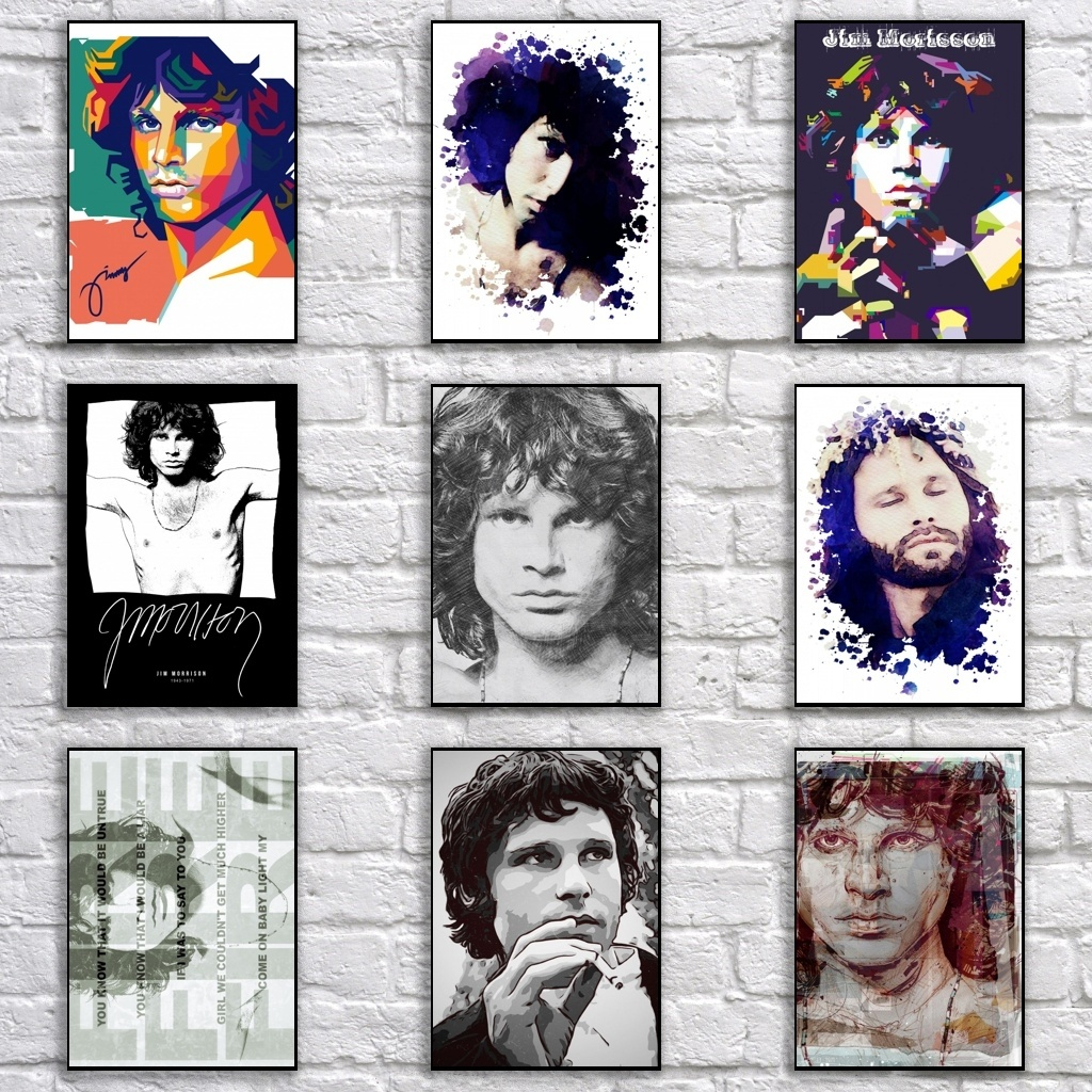 Vintage Jim Morrison <font><b>Retro</b></font> Whitepaper Rock Star Poster Abstract Pop Art Painting Funny Fancy <font><b>Wall</b></font> <font><b>Sticker</b></font> for Coffee House Bar image