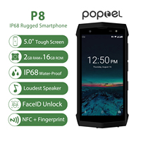 Poptel P8 5.0 IP68 Waterproof Smartphone Android 8.1Quad Core cellphone 2GB+16GB FaceID NFC 4G LTE mobile Phone F2C can do ODM