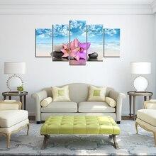 Холщовая рамка для домашнего декора, плакат, настенное искусство, Современная 5 панелей, спа, камни и цветы, Будда, дзен, гостиная, печатные ка...