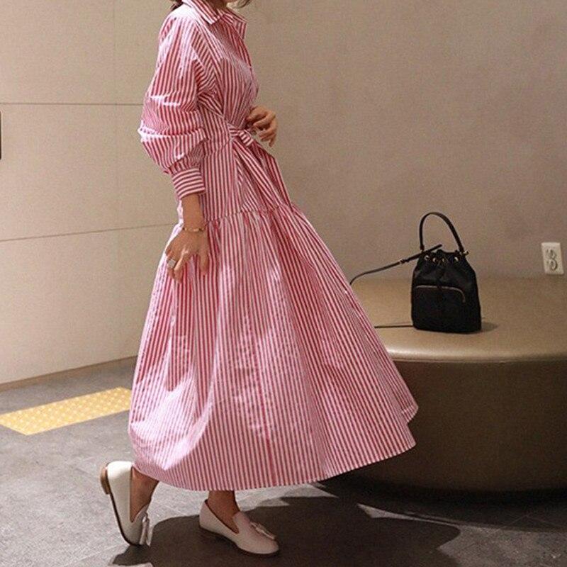 RealShe 2019 robe Vintage femmes revers boutons à manches longues robe dames printemps automne élégant robes décontractées Vestidos - 5