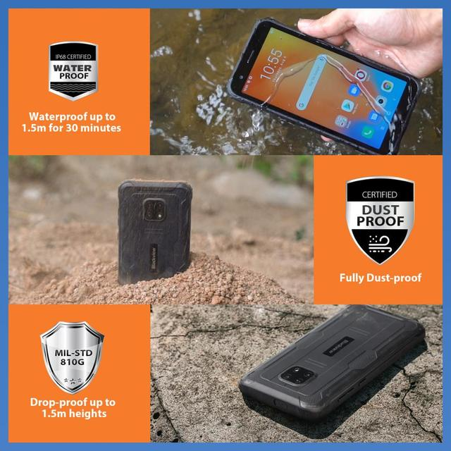 Blackview BV4900 Pro IP68 Rugged Phone 4GB 64GB Octa Core Android 10 Waterproof Mobile Phone 5580mAh NFC 5.7 inch 4G Cellphone 3
