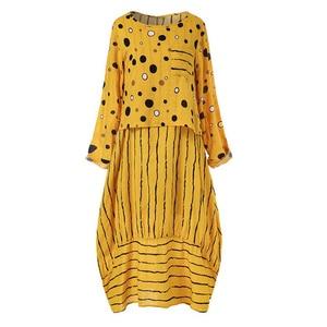 Image 4 - Echoine Women Long Maxi Dress Polka Dot Large Loose Fake Two piece Cotton Linen Dress Autumn Plus Size Sundress Female Clothings