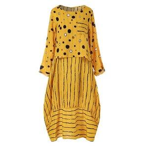 Image 4 - Echoine נשים ארוך מקסי שמלה מנוקדת גדול רופף מזויף שני חלקים כותנה פשתן שמלת סתיו בתוספת גודל נשית קיצית clothings