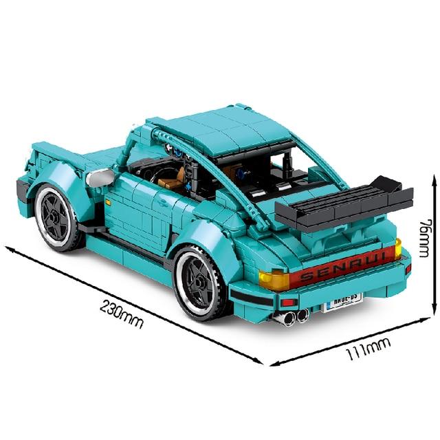 MOC 717pcs Classic Car City Pull Back Sports Car Building Block Model High-Tech Speed Roadster Kid Toy Assembled DIY Bricks Gift 2