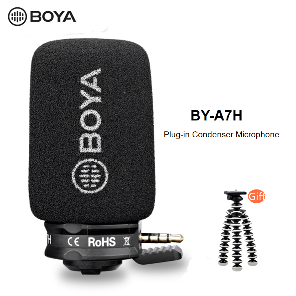 BOYA BY-A7H TRRS Cardioid Mini Gun Shape Directional Microphone For Smart Phones Omni-directional Polar Pattern Plug And Play