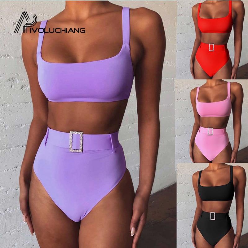 2020 Swimsuit High Waist Padded Bikini Set Women Swimwear Bathing Suit Push Up Swimming Suit Sexy Brazilian Biquini With Belt