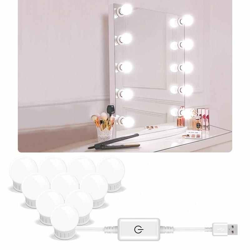 5V Led Make-Up Spiegel Glühbirne Hollywood Make-Up Eitelkeit Lichter USB Wand Lampe 2/6/10/14 stücke Dimmbare Dressing Tisch Spiegel lampe