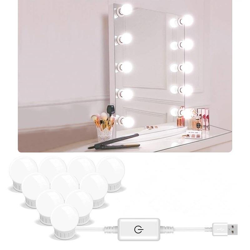 5V LED Gương Trang Điểm Ánh Sáng Hollywood Trang Điểm Vanity Đèn USB Đèn Tường 2/6/10/14 Chiếc Mờ Bàn Trang Điểm Gương Đèn