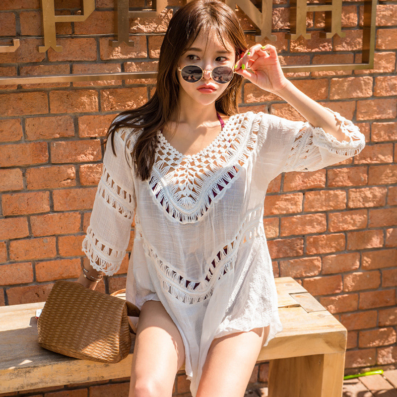 New Style Korean-style Seaside Holiday Immortal Princess Blouse Hollow Out Bathing Suit Coat Beach Sun Protection Clothing Femal