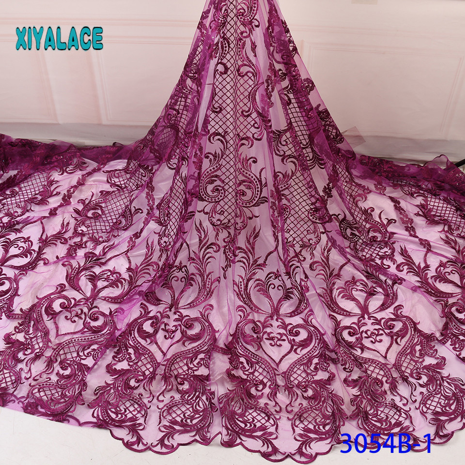 3D Laces 2019 High Quality Beaded Nigerian Lace Fabric 2018 Embroidery French Tulle Lace With Stones For Bridal YA3054B-1