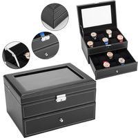 Caixa de relógio 20 Mens Caso Organizador Exibição Tampo de Vidro Com Chave Preto Branco|Caixas de relógio| |  -