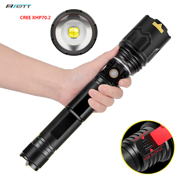 Flashlight Cree xhp70.2 LED 5000 lumens USB charging Shock Resistant Self Defense 26650 battery Rechargeable led torch flashl