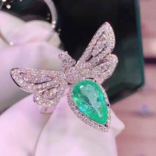 Luxury Elegant Crystal Butterfly Ring Cocktail Dazzling Green Gem Cubic Zirconia Women's Ring Wedding Band Engagement Jewelry luxury women s crystal zircon ring red green gem ring round ring valentine s day gift cocktail party jewelry engagement ring