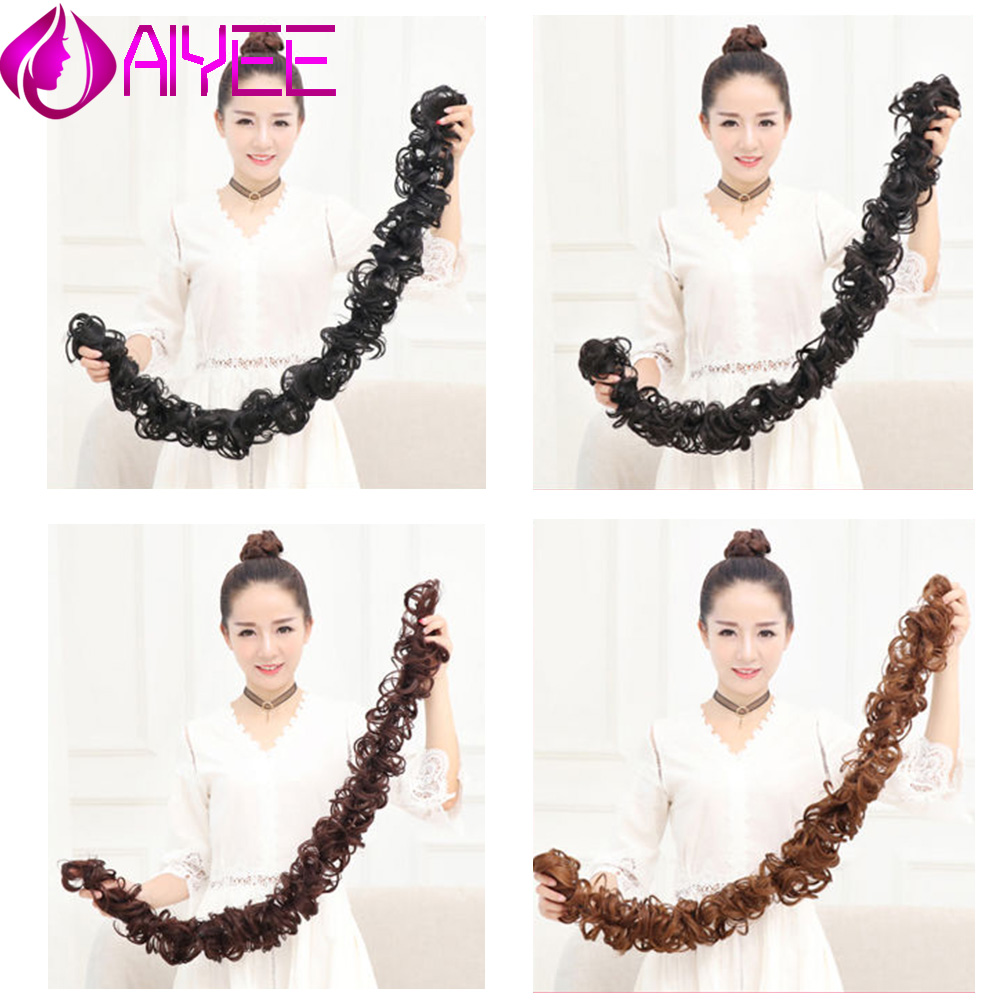 AIYEE Winding Synthetic Messy Chignon Gary Brown Color Hair Bun Pad Elastic Hair Rope Rubber Band Hair Headwear For Wedding
