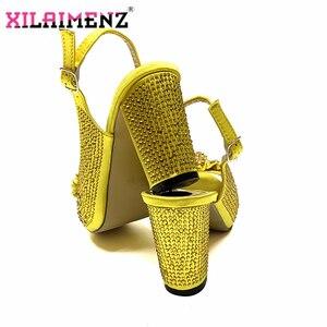 Image 2 - Высококачественный Итальянский новый дизайн, комплект из обуви и сумки бирюзового цвета, удобные вечерние туфли на каблуке и сумочка