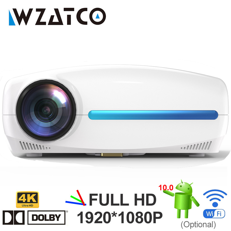 Wzatco c2 4k hd completo 1080p led projetor android 10 wi fi inteligente casa teatro ac3 200 polegada vídeo proyector com 4d digital keyston-0